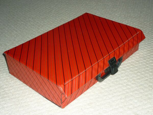 Audio Cassette Storage Box Vintage 1980s Diagonal Stripes Holds 40 Cassettes Ex+