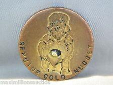 Antique Genuine Gold Nugget Token Coin Lucky Leprechaun Casino Advertising Chip