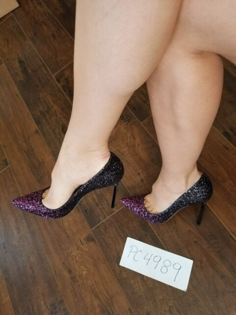fdbfa9e5858 NWT Jimmy Choo ROMY glitter degrade pink black heels pumps size 38.5 US 8  8.5