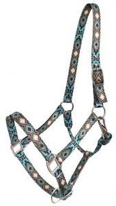 Showman-Nylon-Horse-Size-Halter-With-Cross-and-Diamond-Design-HORSE-TACK