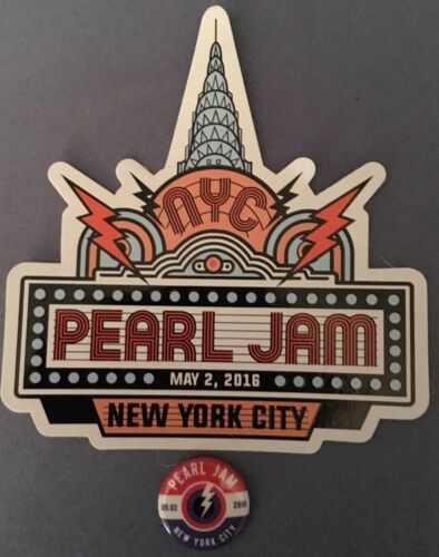 PEARL JAM MSG Night 1 5//2//16 STICKER AND PIN SET!!