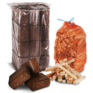 12pk Overnight Briquettes + 3kg Kindling - Compressed Fire Heat Bark Log Block