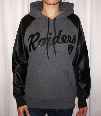 Oakland Raiders Womens Fleece Hoodie Sweatshirt With Faux Leather Sleeves