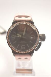 TW-Steel-TW911-Canteen-Black-Dial-Pink-Leather-Crystal-Watch