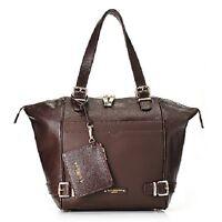 Jack French London Pebbled Leather Double Handle Zip Top Tote Bag Handbag Brown