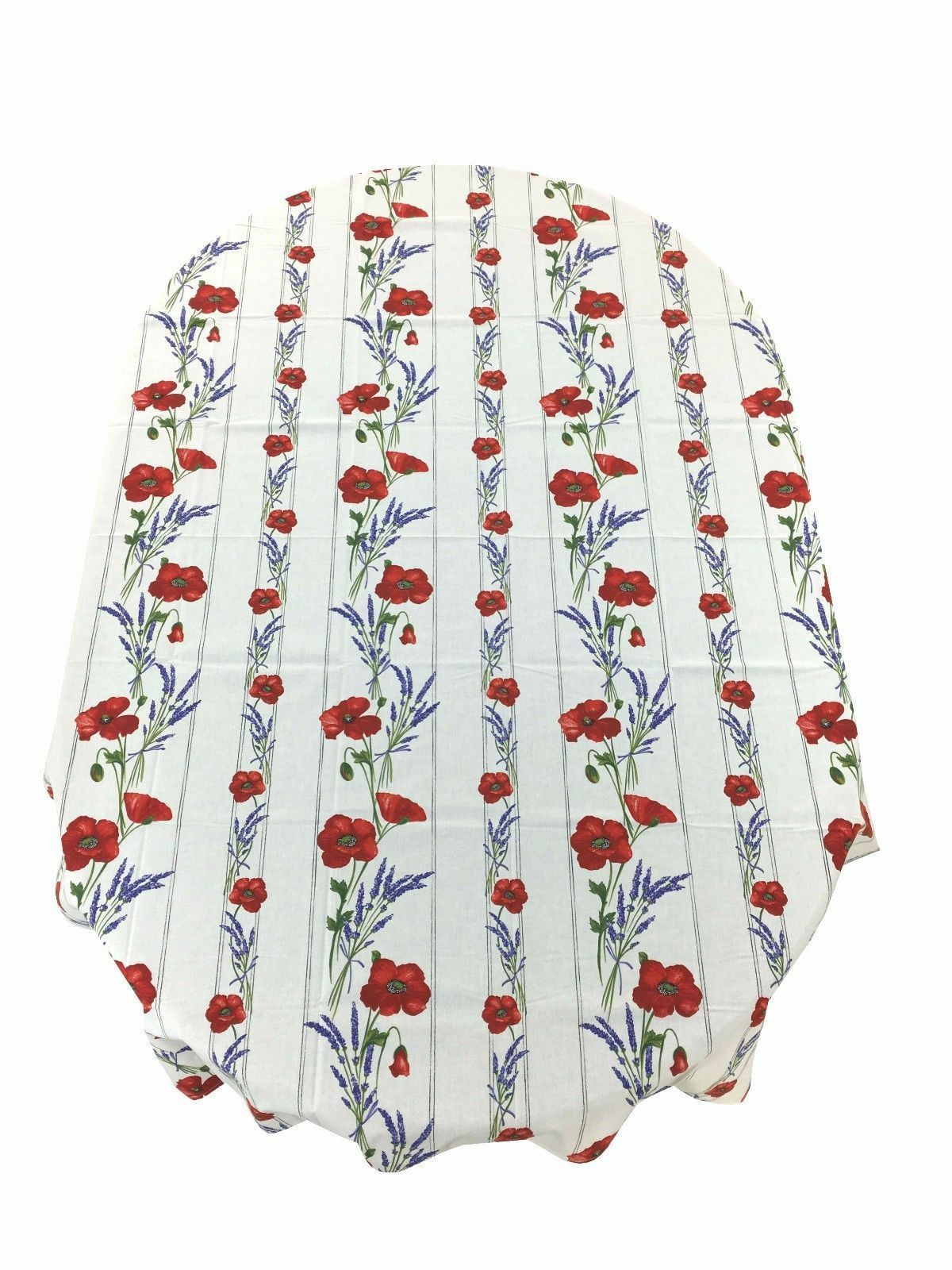 Provencal Coated Cotton Tablecloth Poppies Lavender Cream France 59 X 79