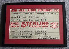 "1915 Kames Scorecard ""Sterling Smoke And Chew"" National American Federal League"