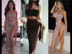 WomenS-2-Piece-Set-Evening-Party-Dress-Bodycon-Multi-Tie-Crop-Top-Slinky-Skirt