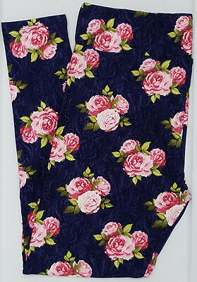 TC LuLaRoe Tall Curvy Leggings Floral Roses Marble Swirl Blue Pink Green NWT 985