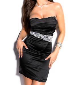 MINI-ABITO-NERO-donna-vestito-tubino-decolte-strass-cristalli-elegante-dress-A9