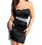 miniatura 1 - MINI-ABITO-NERO-donna-vestito-tubino-decolte-strass-cristalli-elegante-dress-A9
