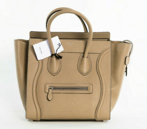 New-Celine-Mini-Luggage-Tote-Drummed-Tan-Calfskin-Leather-Bag-165213-DRU