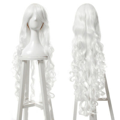 100cm Long White Curly Wave Womens Synthetic Hair Cosplay Wig Bangs Lolita Wigs For Sale Online Ebay