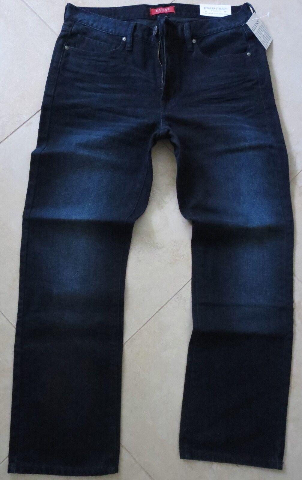 Guess Straight Leg Jeans Men's Size 40 X 32 Vintage Distressed Dark Wash
