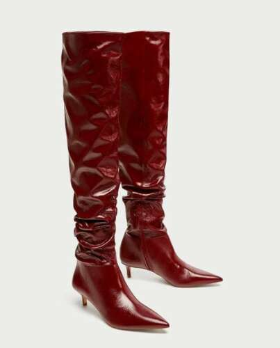 Knee 201 Heel 39 Uk Gathered The Boots Eu Over Red Leather 6 Zara Ref High 6014 fZFIgwSFq