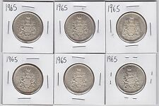 Lot of 6 1965 Canadian silver 50 cent half dollars