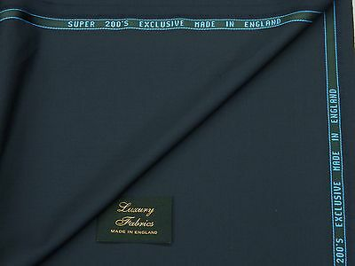 KITON SUPER 200S WOOL, NAVY PLAIN TWILL SUITING FABRIC 3.5M - MADE IN ENGLAND