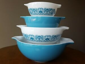 Vintage-Pyrex-Horizon-Blue-Cinderella-441-442-443-444-Full-Set-of-4-Flaws