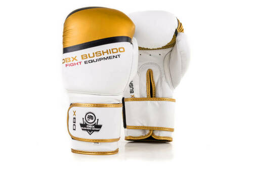 White-Gold model Boxing Gloves 10 OZ Leather Colour DBD-B-2 v1 DBX Bushido