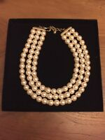 Franklin Mint Shakira Caine Pearlessence Triple Strand Necklace In Box & Coa