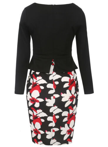 Womens Winter Floral Print Long Sleeves Bodycon Casual Work Formal Pencil Dress