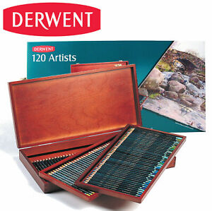 NEW-120-Colours-Derwent-Artist-Colouring-Pencils-in-WOODEN-BOX-Set-Art-Drawing