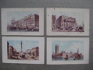 4-gravures-LONDRES-House-Custom-of-parlement-mansion-Duke-of-York-039-s-column