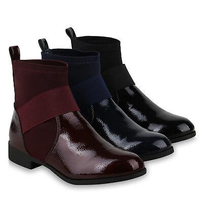 Damen Stiefeletten Schlupfstiefel Sock Boots Lack Booties 825251 Schuhe | eBay
