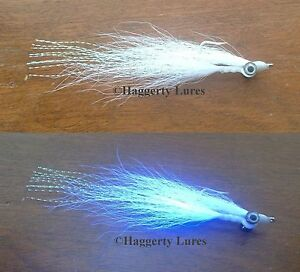 3 Ultimate UV white Clouser Minnow Flies Surf Saltwater Redfish Bass Bonefish