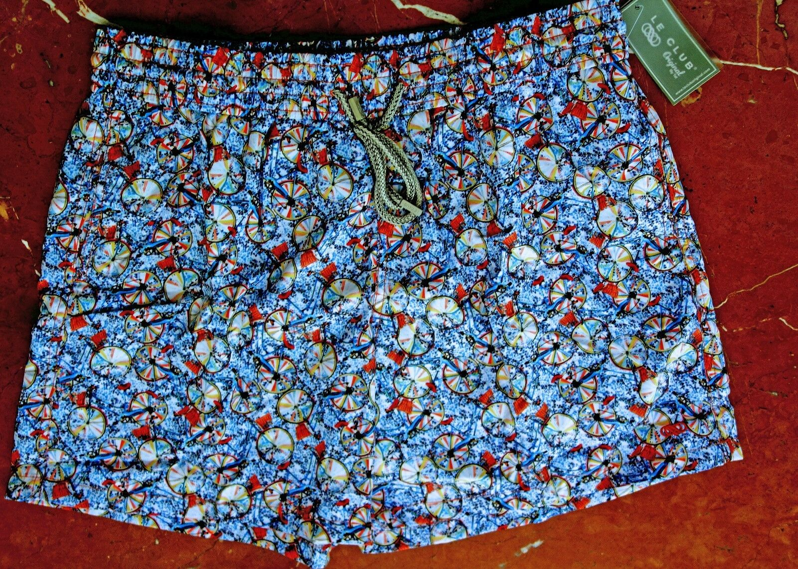 LE CLUB Old Cycle SWIM SHORTS TRUNKS Sky bluee MEN XL NWT msrp