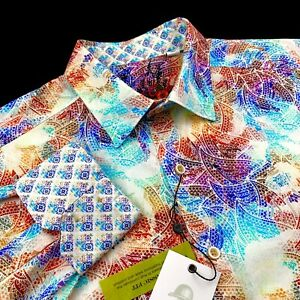Robert-Graham-Paisley-Abstract-Colorful-Sport-Shirt-Classic-Fit-Mens-Medium-198