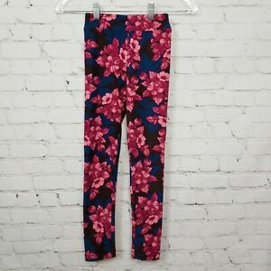 Lularoe-Floral-Print-Pull-On-Leggings-Stretch-Pink-Blue-Youth-Girls-Size-L-XL