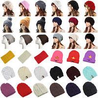 Women Men Unisex Winter Warm Knit Crochet Beret Ski Slouchy Skull Cap Beanie Hat