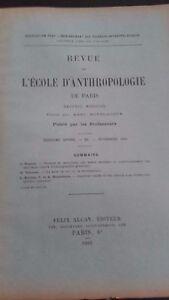 Revista ESCUELA DE ANTROPOLOGÍA 16 Eme Annee 1906F. Alcan N º Xi ABE