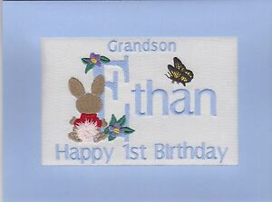 Image Is Loading Handmade Personalised Embroidered Grandson 1st Birthday Cards Any
