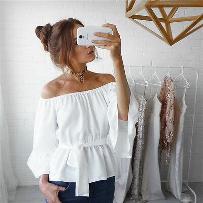 Fashion Women Girl Summer Long Sleeve Shirt Loose Casual Blouse Tops T-Shirt