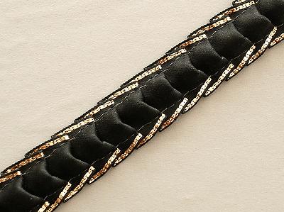 Black & Silver. 3D Sewing Trim. 9 Yards. Folded Trim. Ribbon