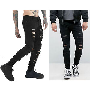Trendy-Mens-Black-Stretch-Skinny-Ripped-Jeans-Chic-Distressed-Frayed-Denim-Pants