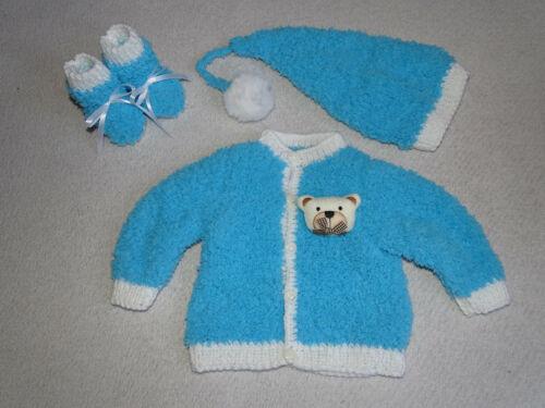 Baby garnitur Jacke Zipfel Mütze Schuhe weich gestrickt hell blau Gr.56//62 03