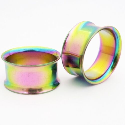 PAIR of Stainless Steel Double Flared Screw Tunnels 3mm-20mm variety of colours