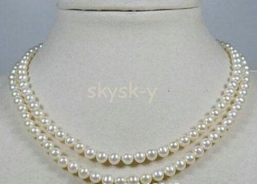 "Double Brin 4-4.5mm Blanc AAA Akoya Collier de perles//17-19/"" 14k Fine Cadeau"