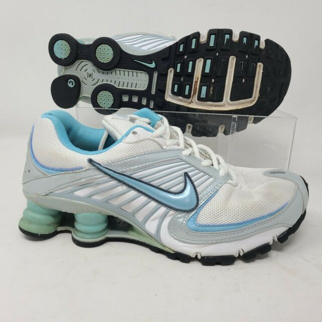 Nike Shox Turbo 8 Running Shoes Size 8 Womens White Blue Sneaker 344948