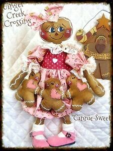 "~Primitive Gingerbread Doll ""Cinnie Sweet"" w/ ginger ornie garland~PATTER<wbr/>N #75"
