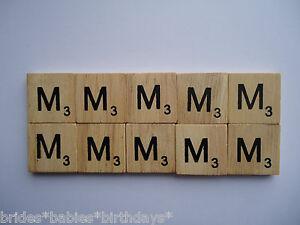 10-Ms-Wooden-Scrabble-Tiles-2cm-x-2cm-scrapbooking-Weddings-Pendants-Magnets
