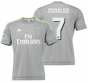 huge discount 4ce3f 819cb Details about ADIDAS CRISTIANO RONALDO REAL MADRID AWAY JERSEY 2015/16.