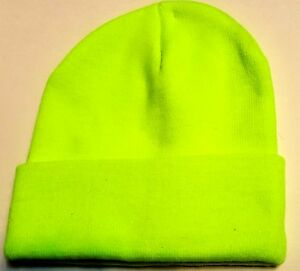 NEON FLUORESCENT GREEN KNIT BEANIE HAT SKI CAP SAFETY CUFFED TOQUE ... 72707d10fa97
