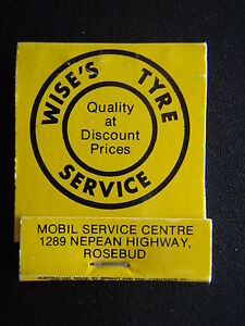 WISE'S TYRE SERVICE 1289 NEPEAN HWY ROSEBUD 059 868973 MATCHBOOK