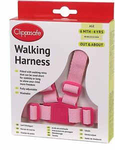 Clippasafe-WALKING-HARNESS-amp-REINS-PINK-Child-Harness-BN