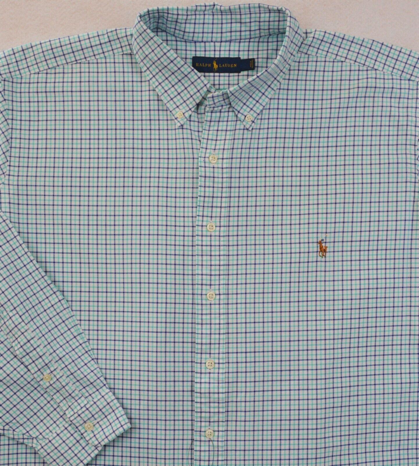 Ralph Lauren Shirt Oxford bluee Plaid Long Sleeves 2XB & 2XLT NWT