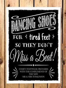 b7bec7044 Image is loading PERSONALISED-dancing-shoes-WEDDING-SIGN-flip-flop-tired-